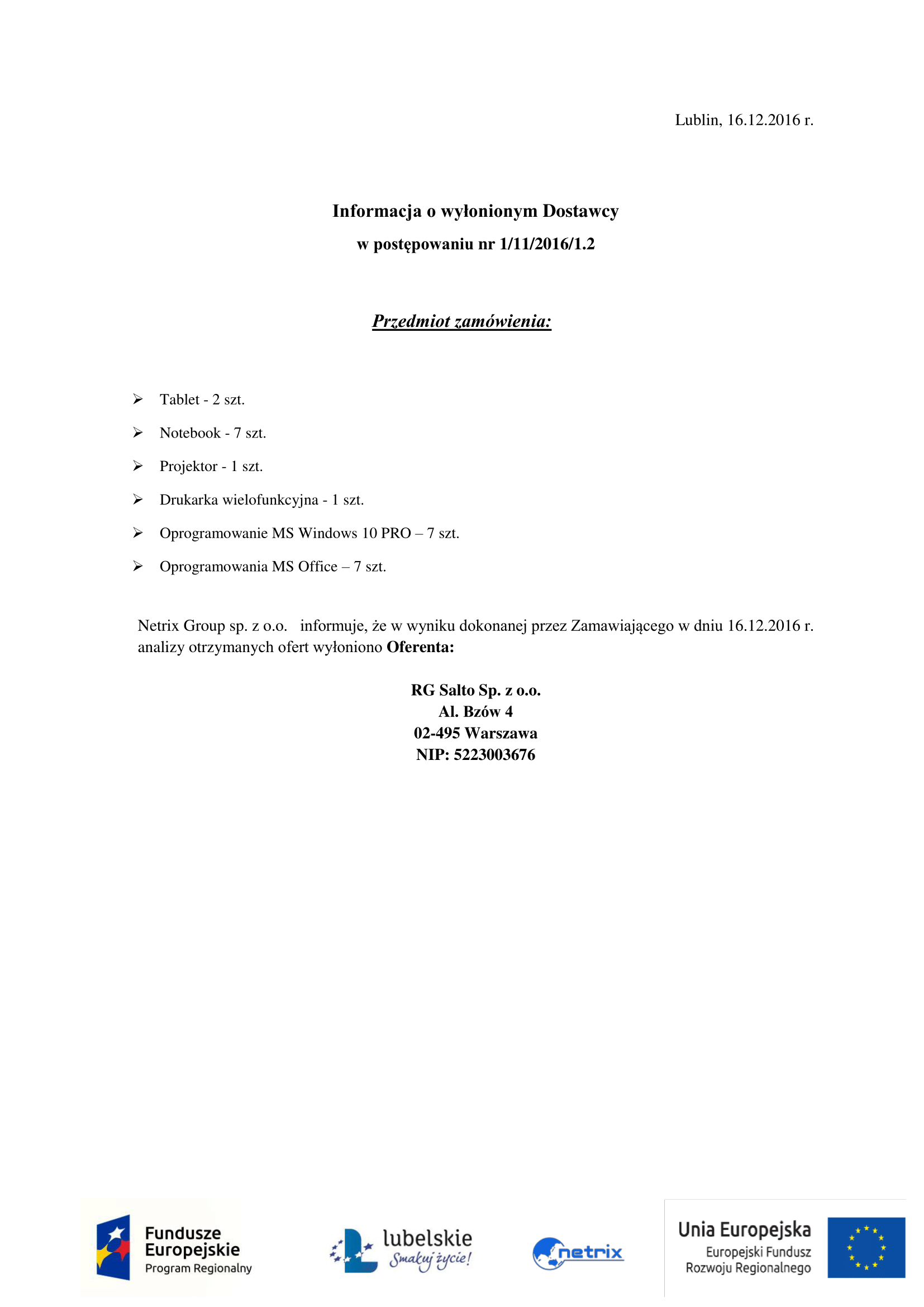 Zawiadomienie o zakończeniu postępowania